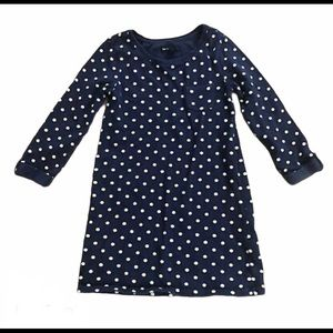 Navy Blue Polka Dot Knit Dress